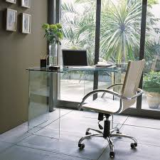 contemporary glass office. Delightful Corner Glass Office Desk And Beige Swivel Chair Thumbnail Contemporary
