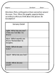 Sensory Details Graphic Organizer Worksheets Tpt
