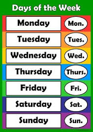 Days Of The Week Chart For Toddlers Days Of The Week Learn Childrens Poster Wall Chart Classroom