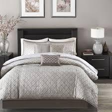 beautiful modern contemporary design chic silver grey comforter set pillows
