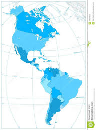 North And South America Blank Map North And South America Map In Colors Of Blue No Text Stock