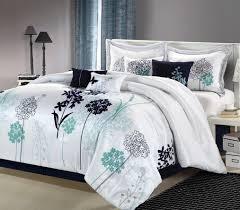 pc luxury bedding set white navy teal new free shipping  ebay