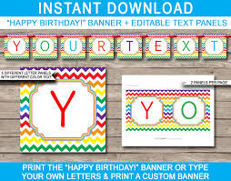 Printable Chevron Letters Rainbow Party Banner Template