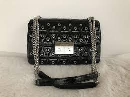 michael kors sloan grommet large quilted leather chain shoulder bag black