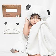 luxury organic bamboo hooded baby towel washcloth set extra large hooded bath towel with gray panda ears for babies newborn toddler boy girl thick