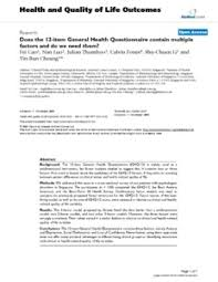 Does The 12 Item General Health Questionnaire Contain