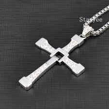 real 925 sterling silver jewelry fast and furious 8 dominic toretto vin sel men women cross pendant necklace free engraving