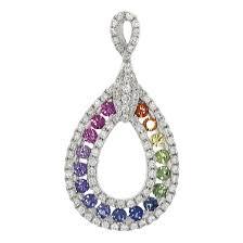 mix sapphire drop shape rainbow pendant