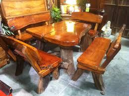 Redwood Slab Dining Table This Rustic Teak Wood Slab Table Has Live Edge Log Legs Complete