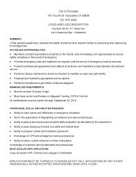 Famous Lifeguard Resume Job Description Contemporary Example