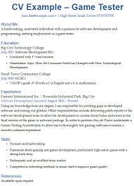 Game Tester Cv Game Tester Cv Example Icover Org Uk