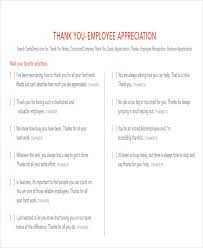 Words Of Appreciation For Employee Sample Thank You Notes To Employee 8 Examples In Word Pdf