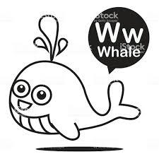 Fumetto Di Balena E Alfabeto Per Bambini A Imparare E Colori