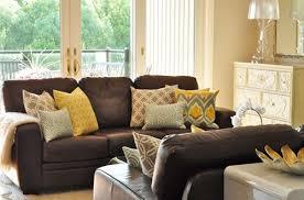 living room decor brown leather sofa