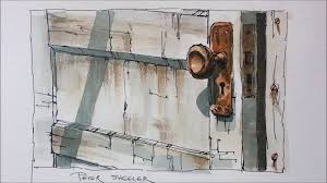 line and wash demonstration of an old door watercolor painting easy to follow and learn you