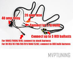 40 20 amp hid relay wiring harness for 2 or 3 headlights atv utv installation guide