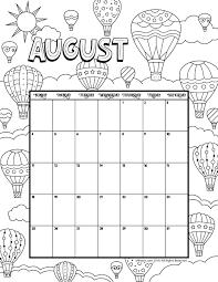 August Calandar August 2019 Coloring Calendar Woo Jr Kids Activities