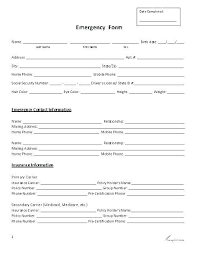 In Case Of Emergency Form For Employees Employee Change Form Acepeople Co