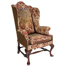 18th Century Queen Anne Walnut Wing Chair With Tapestry Covering For Sale Queen Anne Armchair E50