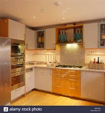 Kitchen With Recessed Lighting Recessed Lighting Below Fitted Wall Cupboards In Modern White