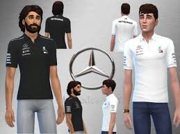 AMG Mercedes F1 Team Polo - The Sims 4 Download - SimsDomination