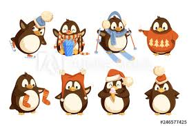 <b>Penguin</b> in winter wearing warm clothes vector north birds. Animal ...
