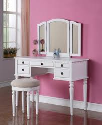 modern white dressing table with mirror and drawers using pink wall paint colors for teenage girl bedroom ideas