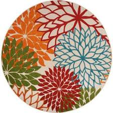 aloha green 8 ft x 8 ft indoor outdoor round area rug