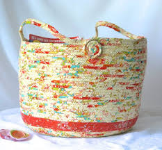Handmade Magazine Holder Inspiration 32 Coral Coiled Basket Handmade Peach Fabric Hamper By