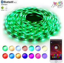 Led Lights Sync To Music Led Strip Lights Sync To Music Rathun Bluetooth Smartphone App Controlled 32 8ft Rgb 300 Leds 5050 Flexible Color Changing Light Full Kit Working With