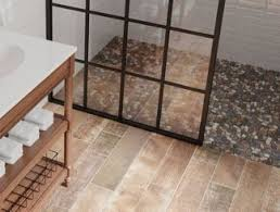 Wood and tile floor designs Living Room Bathroom Floor Laid With Woodlook Tile Lowes Bathroom Tile And Trends At Lowes