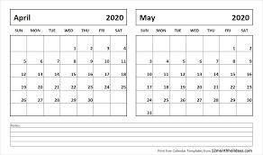 April May 2020 Calendar Printable Printable Blank Two Month Calendar April May 2020 Template