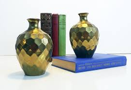 Small Picture Vintage RIH Solid Brass Faceted Honeycomb Vases Set of 2 Small