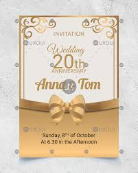 Wedding Anniversary Invitation Card Design With Golden Ornaments
