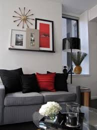 gray and red living room interior design. small 32 square meter minimalist bachelor\u0027s loft | digsdigs home project pinterest charcoal couch, living room colors and gray red interior design