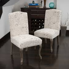 crown top french script beige fabric dining chair set of 2 by christopher knight