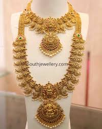 Gold Necklace And Haram Set Designs Antique Gold Lakshmi Mango Necklace And Haram Indian