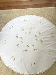 white cotton tablecloth beautiful hand embroidered round diameter cm tablecloths uk