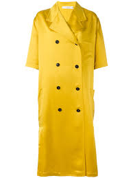 victoria beckham short sleeve tie coat yellow women clothing double ted peacoats coats