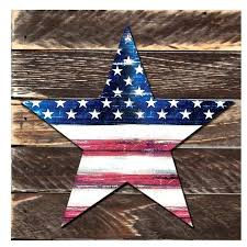 star rustic patriotic wooden wall decor for