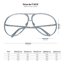 Reading Glasses Size Chart P 8478 Sunglasses Porsche Design