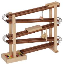 wood and metal marble race run toy roller