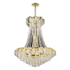 worldwide lighting empire collection 15 light polished gold and crystal chandelier