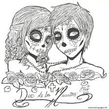 Day Of The Dead Hard Free Printable Sugar Skulls Coloring Pages