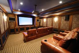 media room furniture ideas. Another View Of The Above Theater From Second Tier Seating. Patterned Black And Gold Carpeting Is Characteristic Movie Flooring. Media Room Furniture Ideas