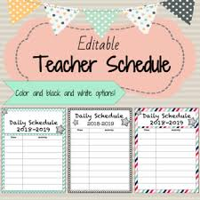 Cute Template Daily Classroom Schedule Template Editable 6 Cute Design Schemes
