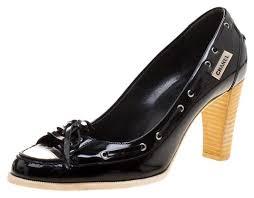Chanel Black Black/<b>White Patent Leather</b> Bow Cap Pumps Size EU ...
