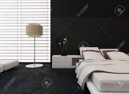 Modern Bedroom Blinds Modern Bedroom Interior With Black And White Decor With An