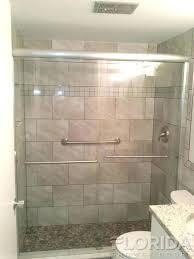 semi frameless sliding shower door 3 8 bore through sliding shower door with brushed nickel hardware