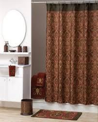 Brown Tan Seashell Fabric Shower Curtain Sea Shell Print Shower